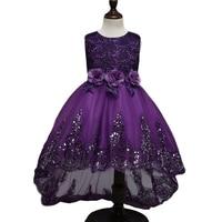 2017 Top New Quality Princess Dress For Little Girl Long Dresses Sequins Ceremonies Wedding Gown Dress