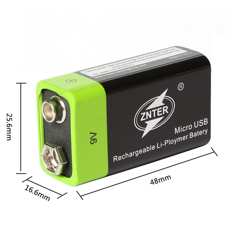 ZNTER 400MAH 9V Rechargeable Battery Micro USB Charging 9v Standard Rechargeable Lithium Battery with Micro USB Cable Bateria