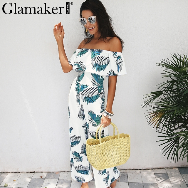 50babee47322 Glamaker Bohemian palm print ruffle jumpsuits rompers Off shoulder plus  size women jumpsuit Winter beach sexy jumpsuit overalls
