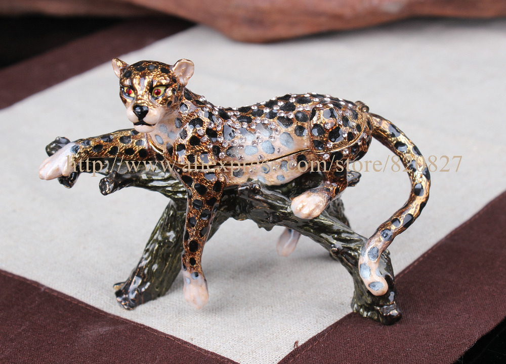 Jaguar Leopard Trinket Box Jewelry Box Anmial Pill Box Figurine Leopard on Tree Branch Jeweled Pewter Trinket Jewelry box collectible deer jewelry box reindeer shaped pill box deer jeweled trinket box enameled pewter bejeweled musk deer