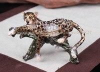 Jaguar Leopard Trinket Box Jewelry Box Anmial Pill Box Figurine Leopard on Tree Branch Jeweled Pewter Trinket Jewelry box