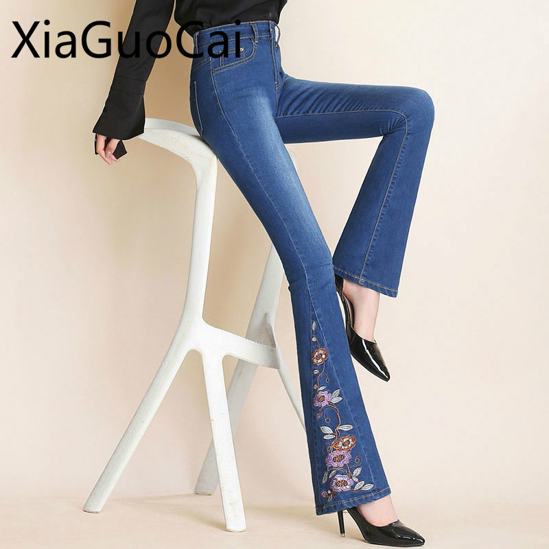 Ethnic Embroidery Flowers Women Pants Micro-ra Jeans For Girls Slim High Waist Embroidered Flared Wide Leg Pants