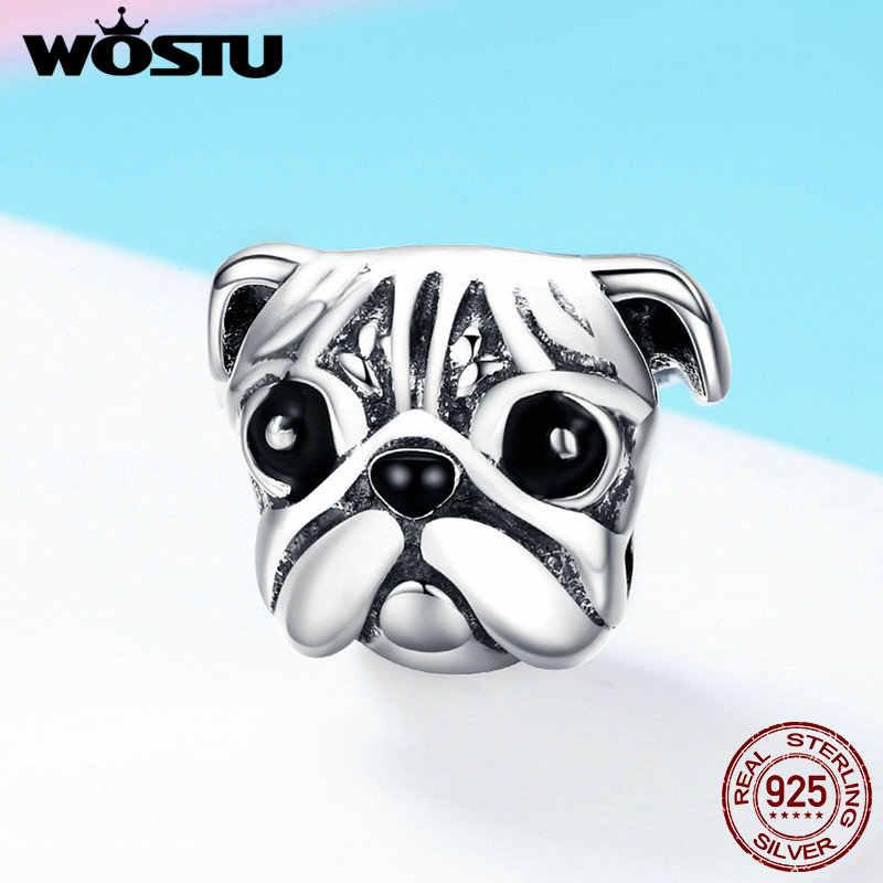 WOSTU Hot Sale 925 Sterling Silver Cute Pug Dog Pet Animal Charm fit Original DIY Beads Bracelet Jewelry Making Gift CQC834