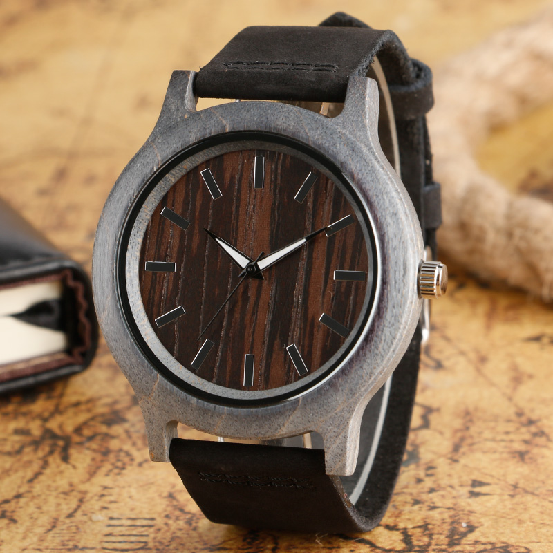Men's Wooden Watches Siliver Bamboo Case Brown Dial Light Nature Hand-made Wood Wristwatch Black Leather Band Relogio Masculino green dial creative wooden watch 2017 relojes hombre leather band bamboo minimalist mens nature wood relogio masculino