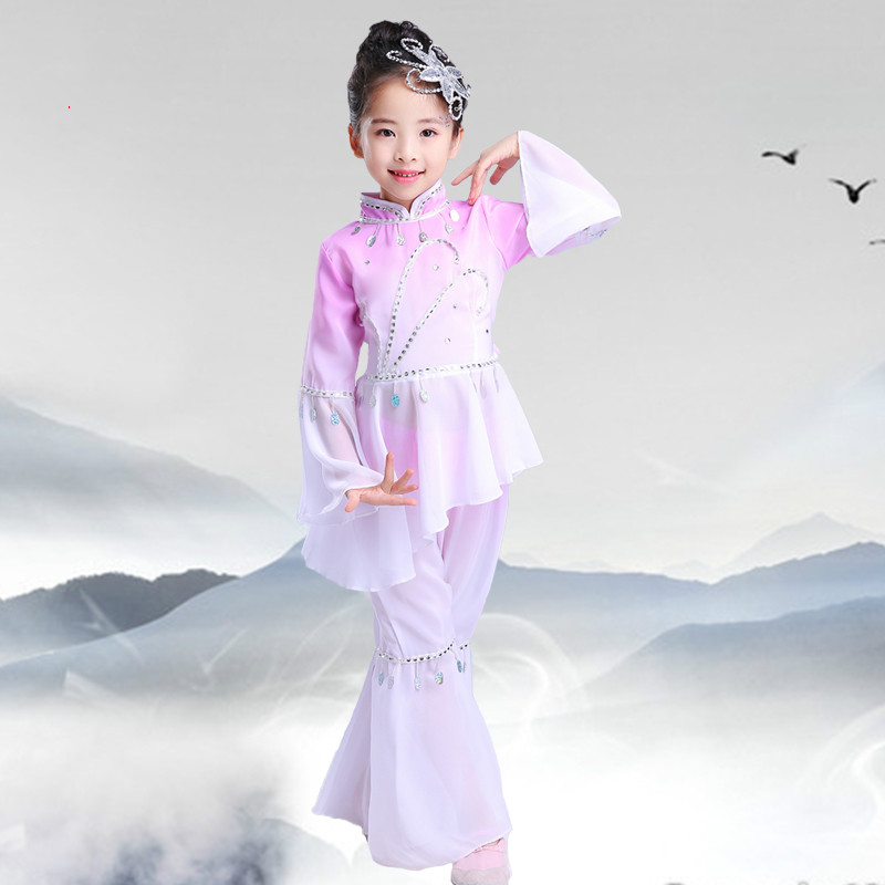 Stage & Dance Wear Ancient Chinese National Costume Yangko Dance Children Chinese Traditions New Year Waist Drum Dance Stage Performance Outfits