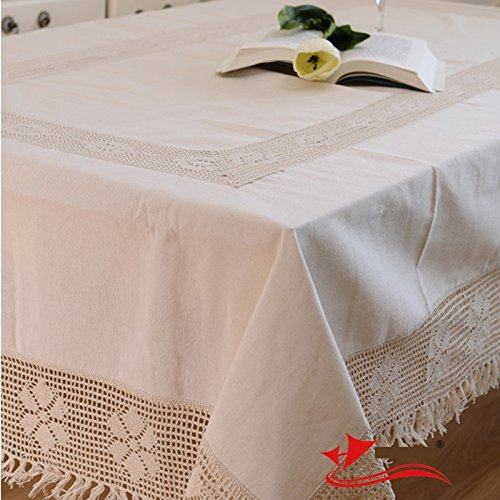 Cotton Linen Woven Lace Tablecloth,Fashion North European Style Table Cloth  Rectangular, Crochet Tablecloth For Square Table