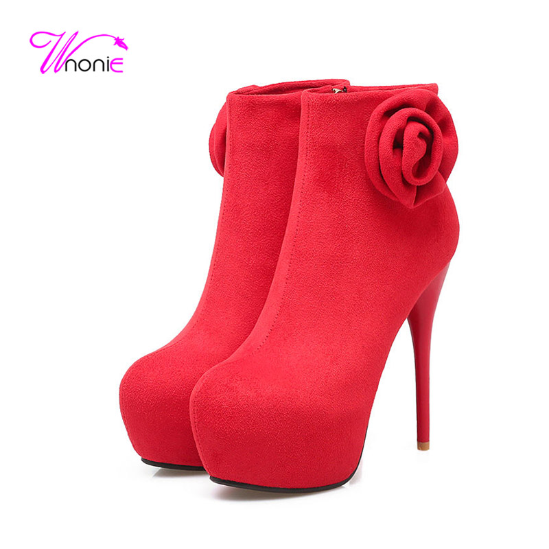 ФОТО 2017 Shoes Women Short Ankle Boots High Stiletto Heel Round-toe Platform Zipper Flower Plush Sexy Winter Dress Party Lady Shoes