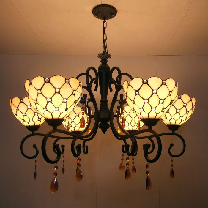 Tiffany Glass Pendant Lamps  Garden Star 6 Lights Living Room Lamps Bedroom Lamp Hotel Lights DIA 86 CM H 48 CM a1 master bedroom living room lamp crystal pendant lights dining room lamp european style dual use fashion pendant lamps