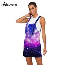 b216e1fb7642 Raisevern Galaxy Space Print Women Rompers Summer Casual Playsuit Fashion  Loose Streetwear Strap Beach Short Jumpsuit