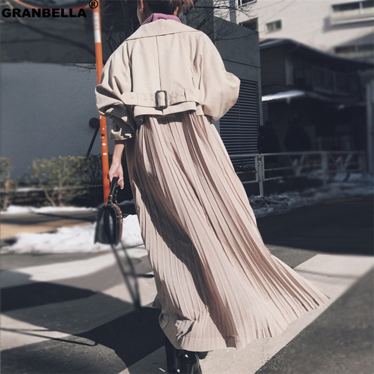 New spring windbreaker coats female 2019 fashion Korean pleated chiffon splice outwear loose   trench   coat for women thin cloak