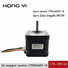 Free Shipping Nema17 Stepper Motor 42 motor Nema 17 motor 42BYGH 1.7A (17HS4401S) motor for CNC XYZ 3D printer 4-lead