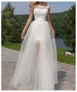 Image 3 - LORIE 2019 Neue Prinzessin Hochzeit Kleid mini Appliqued Abnehmbare Zug Brautkleid Sleeveless Boho Freies Verschiffen Braut Kleid
