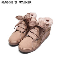 Maggie's Walker Women Faux Suede Casual Shoes Platform Suede Lacing Warm Winter Shoes With Plush Size 35~40