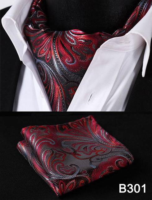 Homens Gravata De Seda Gravata Ascot Lenço Paisley Floral Set # B3 Bolso Quadrado Do Casamento Do Partido Clássico