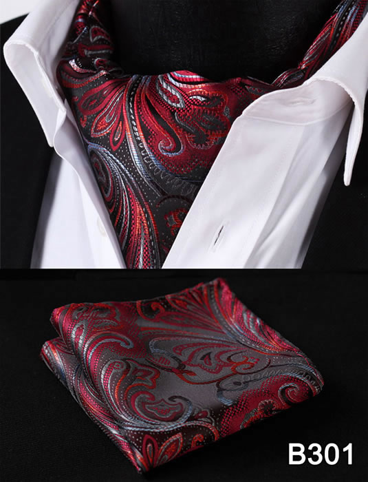 Paisley Floral Men Silk Cravat Ascot Tie Handkerchief Set #B3 Party Classic Pocket Square Wedding