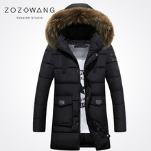 Zozowang new 2017 solid hooded faux fur collar fashion  winter jacket men keep warm zipper pocket loose coat