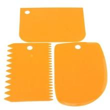 Práctico 3 unids/set masa de plástico fondant glaseado espátula para tartas herramientas de decoración de repostería para hornear lisas espátulas con borde dentado cortado