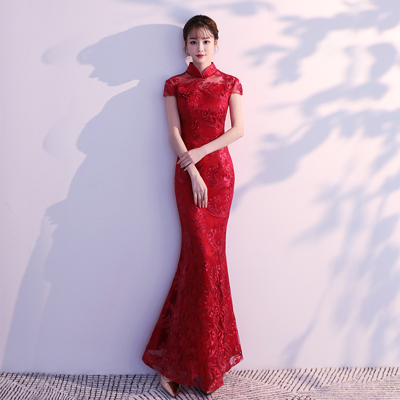 Lace Mermaid Chinese Style Lady Cheongsam Long Tight Elegant Dress Big Size 3XL Vestidso Vintage Red Bride Wedding Qipao S-203