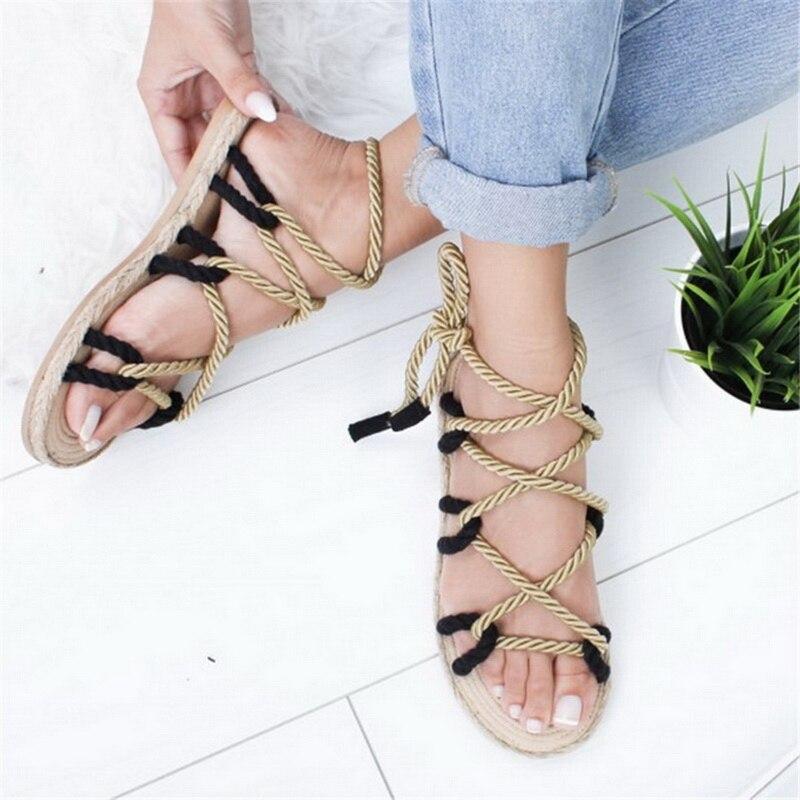 2019 Espadrilles d'été femmes sandales à talons hauts bouche pointue sandales chanvre sandale talons hauts chaussures à bout ouvert femme 7