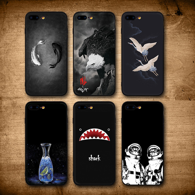 outlet store 5dabf f6e9f US $4.98 |IIOZO For iPhone 7 8 8 Plus Case Cool Fishes Shark Eagle Cat Man  Bottle Silicone Black Back Cover For iPhone 8 Phone Cases-in Fitted Cases  ...