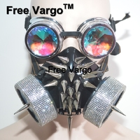 Голографический горный хрусталь горящий человек Streampunk очки заклепки маска Хэллоуин Rave сценические костюмы косплей фестиваль одежда наряд