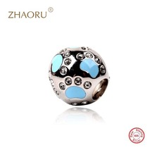 Zhaoru Authentic 925 Sterling Silver Crytal Charm Fit Bracelet & Necklace Enamel for Jewelry Crystal Bead  Pendant