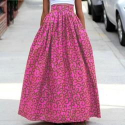 b4c69768d 2018 women African Dashiki elastic Autumn winter summer Maxi beach skirt  Floral print High Waist Pleated