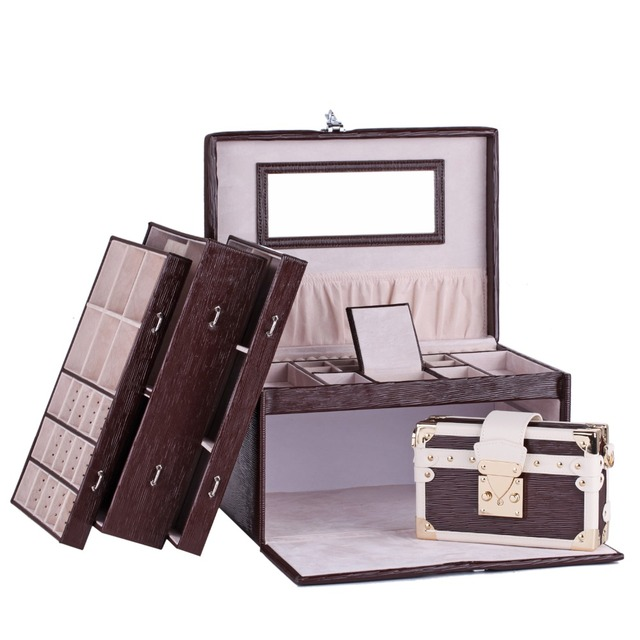 White Rose Extra Large Jewelry Box Watch Storage Case With Lock Women Bag Mirror Faux Leather Bracelet