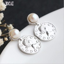 Natural pearl earrings in 925 sterling silver hypoallergenic stylish, round tassel for Women