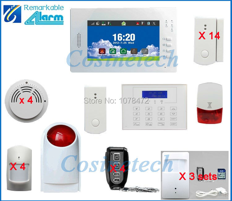 Customized FSK 7 inch Touch screen Smart Wireless Home Security 868MHZ alarm system in multi-language for option,smart sensor gsm alarm system with multi language english german italian dutch menu for option home security 7 inch touch screen home alarm