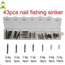 JSM 43pcs 100% Tungsten Nail Pagoda Fishing Sinker Small Thin Worm Weights Sinkers Insert Into Soft Plastic Lures Set With Box