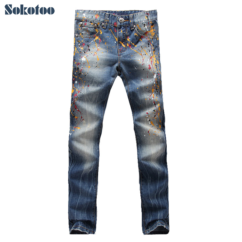 ФОТО Sokotoo Men's fashion colored painted jeans Male casual washed slim denim pants Long trousers