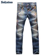 Sokotoo Men's fashion colored painted jeans Male casual washed slim denim pants Long trousers