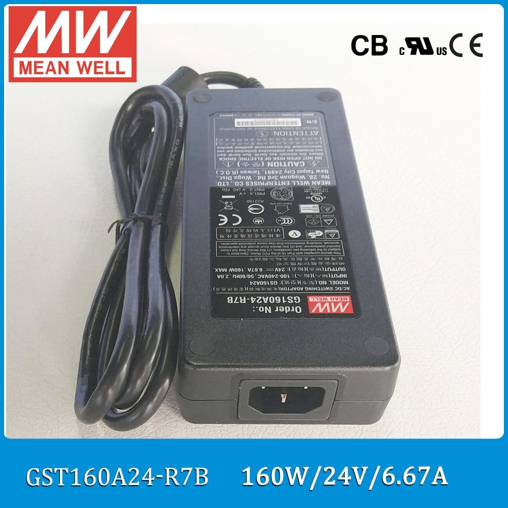 Original Meanwell GST160A24-R7B 160W 24V 6.67A AC/DC Level VI Mean well desktop Adaptor with PFC цены