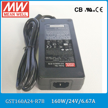 Original Meanwell GST160A24-R7B 160W 24V 6.67A AC/DC Level VI Mean well desktop Adaptor with PFC