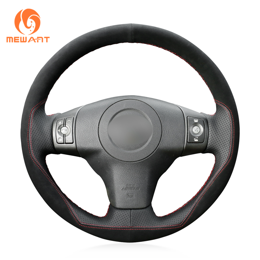MEWANT Black Genuine Leather Suede Hand Sew Car Steering Wheel Cover for Toyota RAV4 2006 2012