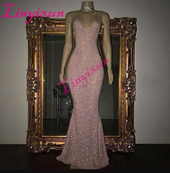 Linyixun Stunning Rose Pink Sequined 2018 Prom Dresses Sexy Spaghetti Straps Mermaid Sleeveless Evening Dresses Custom Made