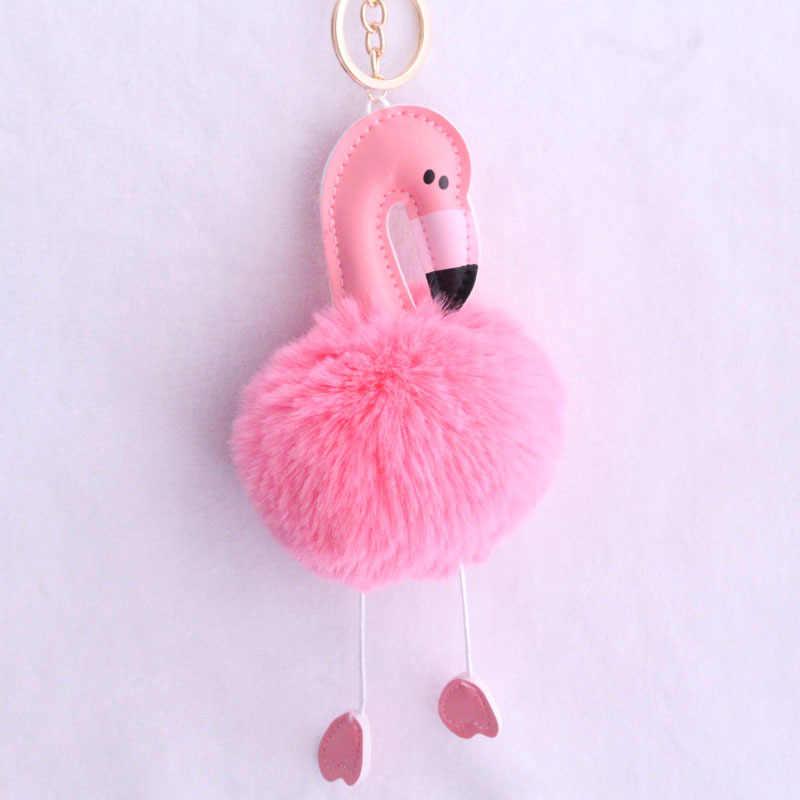 """ZOEBER Pom ключ """"помпон"""" цепь Фламинго брелок пушистый искусственный кроличий мех мяч автомобильный мешок помпон брелок помпон пом карабин для ключей женщин"""