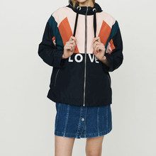 Women Jacket 2019 Spring and Summer Color Zipper Drawstring Elastic Letters Casual Baseball Jacket(China)
