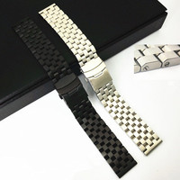 1PCS High quality 22MM Solid Stainless steel watch strap silver color and black color Watch band men watch strap WBT009