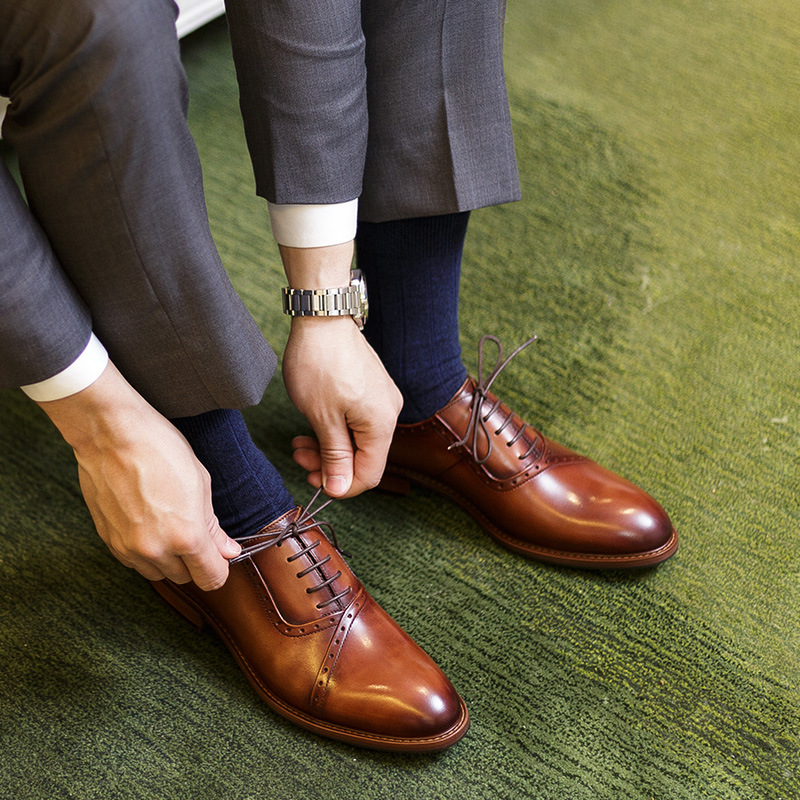QYFCIOUFU 2019 Handmade Retro Design formal shoes men Luxury Wedding Male Oxford Footwear Genuine Leather Man Brogue Dress Shoes in Formal Shoes from Shoes