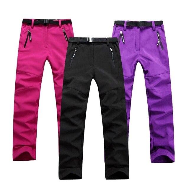 Women Hiking Pants Camping Trousers Soft Shell Fleece Warm Wear-Resistant Waterproof Windbreak Skiing Pants