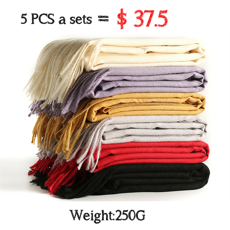 5 Pcs a Sets women   scarf   fashion soild autumn winter cashmere   scarves   lady warmer pashmina long   scarf     wraps   foulard femme