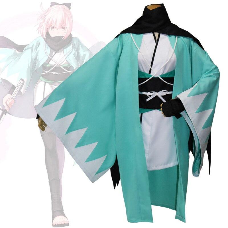 Anime Okita Souji Cosplay vêtements adultes femmes hommes Halloween Costume Style japonais Kimono samouraï vêtements guerrier Haori