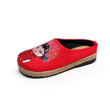 Summer half slippers female outside wearing national style shoes embroidery flat bottom non-slip linen cool