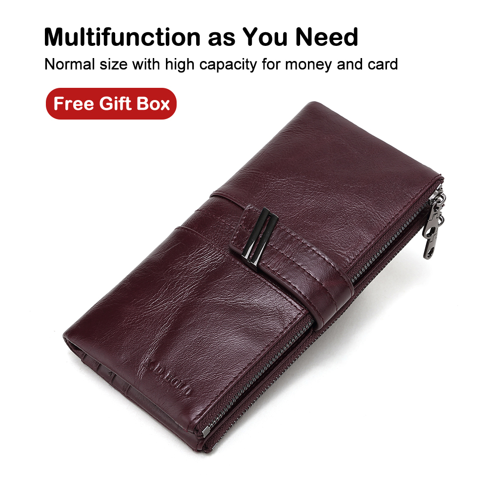 X.D.BOLO 2019 Women's Wallet Genuine Leather Wallets Female Portomonee Coin Purse Long Clutch Purses Phone Card Holder Carteras