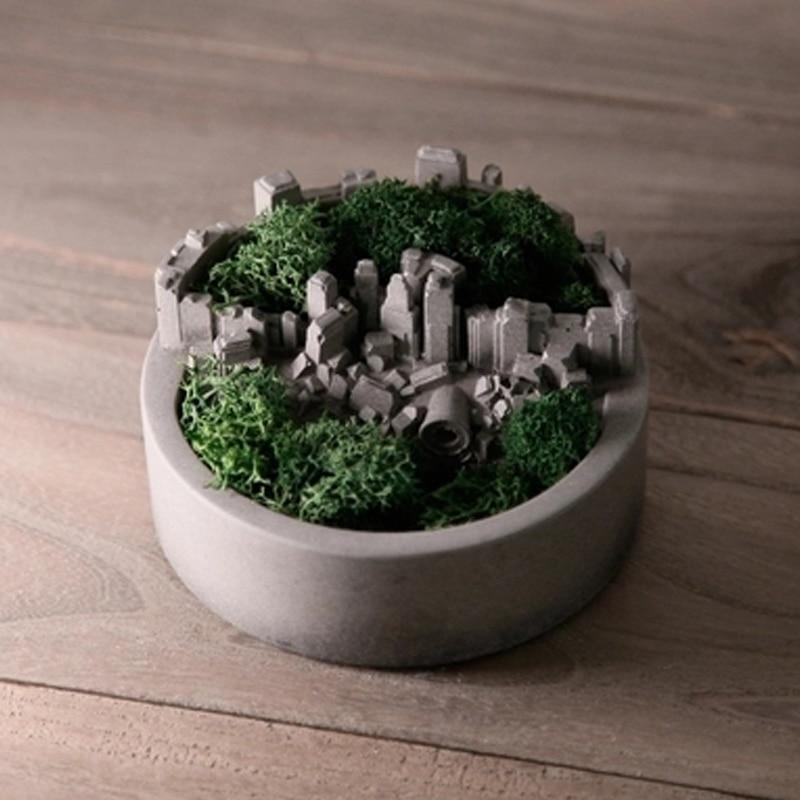 Micro-landscape Design Concrete Flower Pot Silicone Mold Succulent Plants Garden Pot Mold Landscape Cement Furnishing Mold