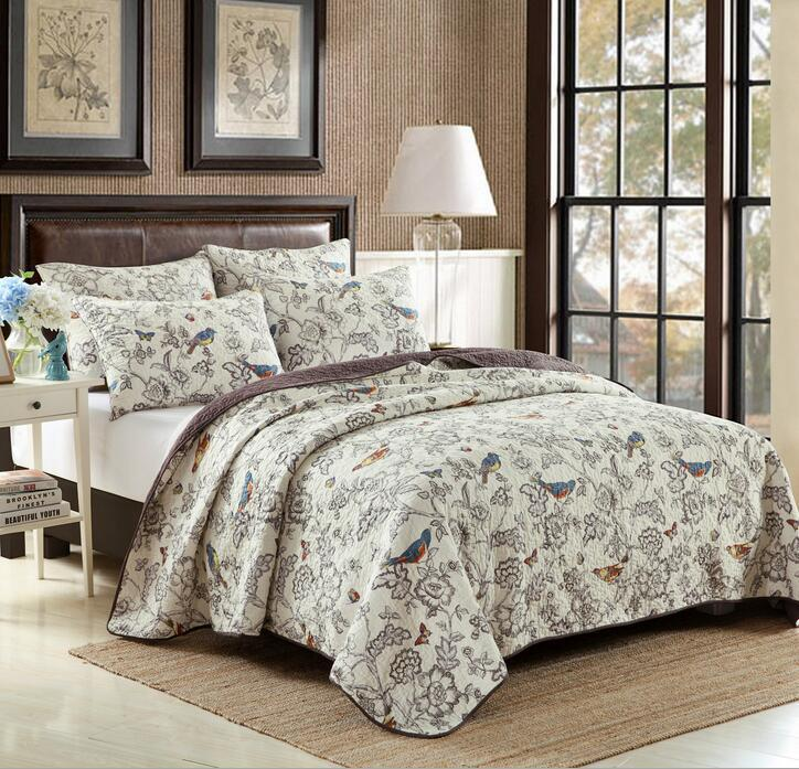 1 Bedspread 2 Pillowcases Simple Style Quilt Set Queen