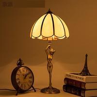 2017 Paris Antique Art sculpture table Lighting study work stand Lamps Parlor Bedroom Copper Beauty desk Light Modern E14*2 Led