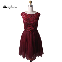 BeryLove Short Burgundy Homecoming Dresses 2018 Beaded Tulle Homecoming Gowns Styles Mini Party Dress Graduation Dresses